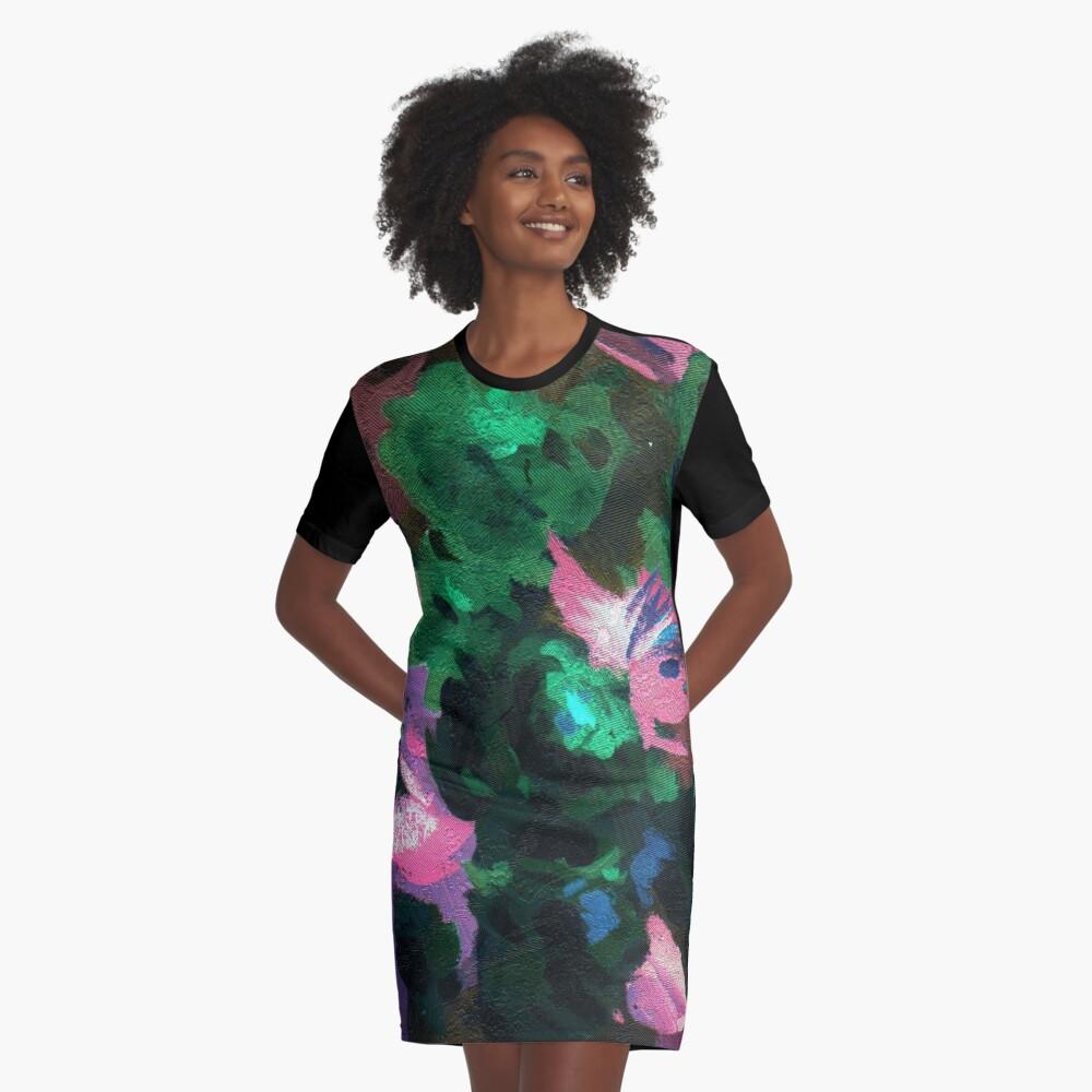 Dark Floral Graphic T-Shirt Dress