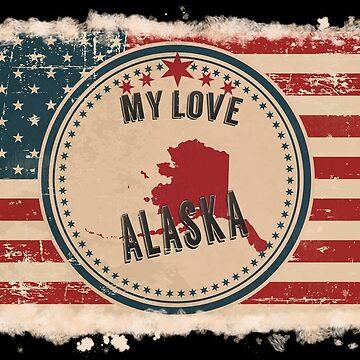 Alaska Pride Retro US Flag by Flaudermoon
