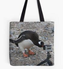 Gentoo Penguin in Antarctica & Go Pro  Tote Bag