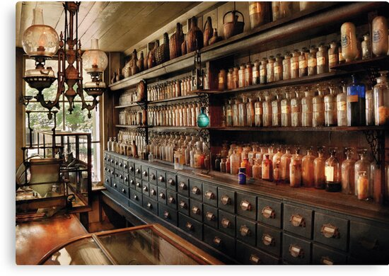 Pharmacy - So many drawers and bottles by Michael Savad