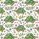 Tortoises and Flowers on White pattern by Hazel Fisher