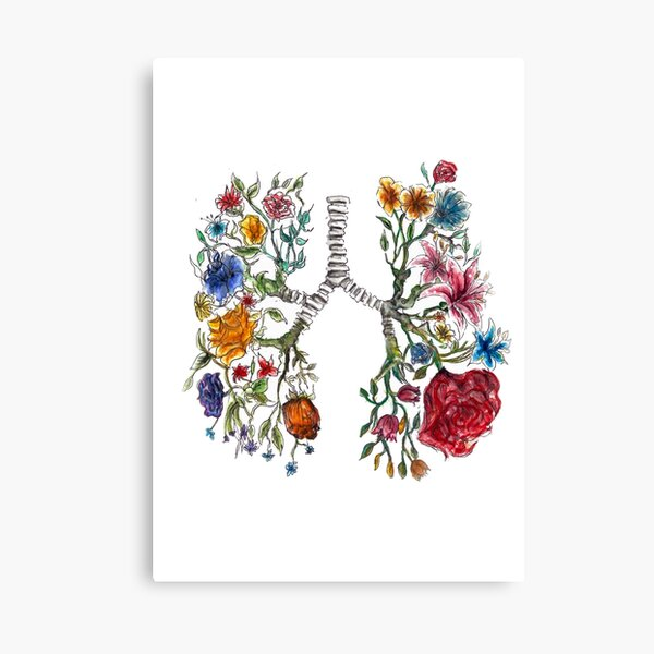 Lung Anatomy and Flowers Art  Canvas Print