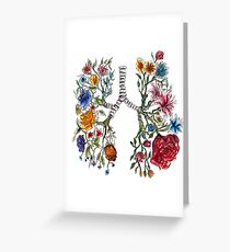 Lung Anatomy and Flowers Art  Greeting Card