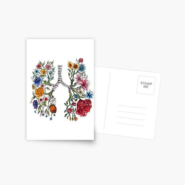 Arte de flores y anatomía pulmonar Postal