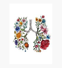 Lung Anatomy and Flowers Art  Photographic Print