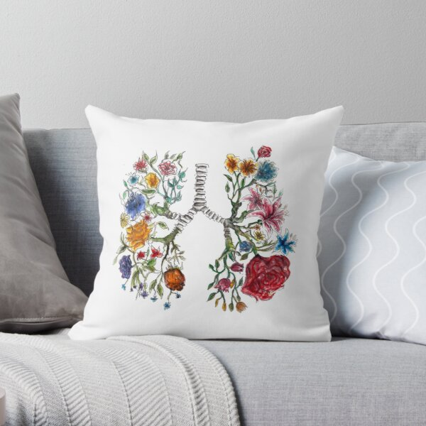 Lung Anatomy and Flowers Art  Throw Pillow