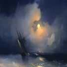 Storm at Sea on a Moonlit Night-Ivan Aivazovsky by LexBauer