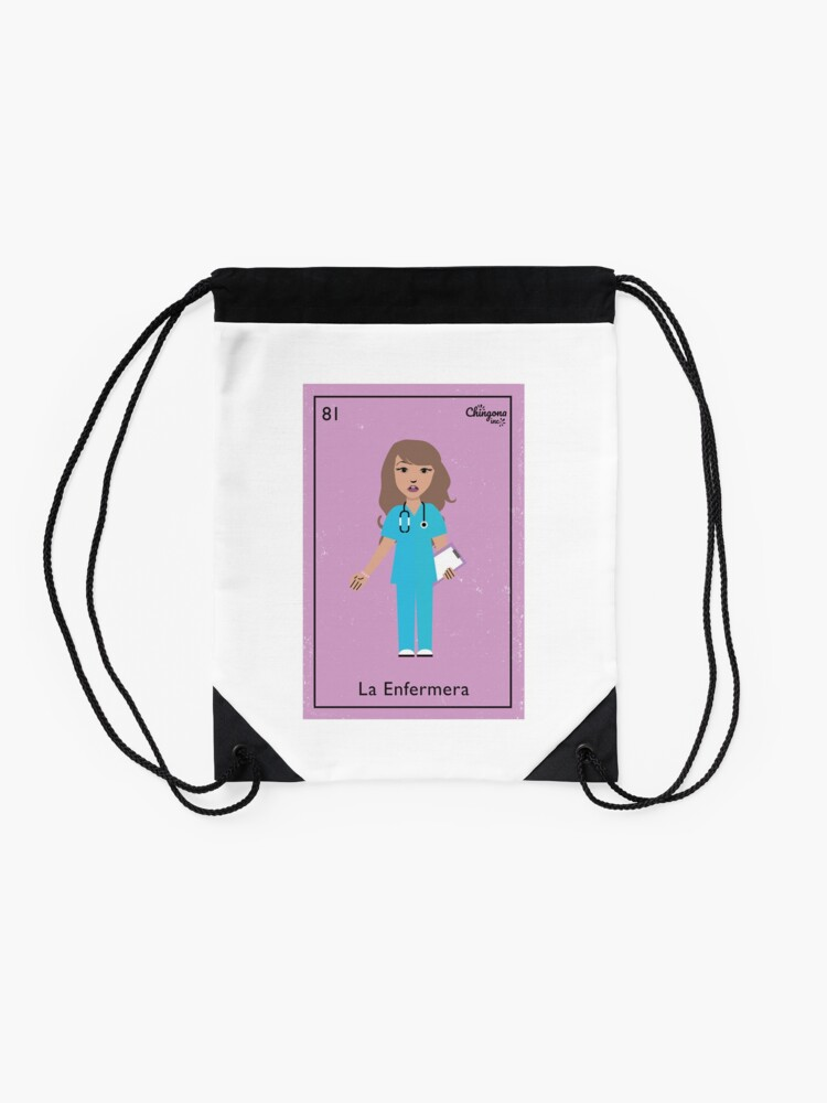Alternate view of La Enfermera #2 Drawstring Bag