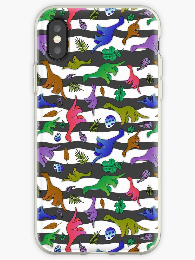 Happy colourful long neck dinosaurs on black and white wavy background by Nefermiw