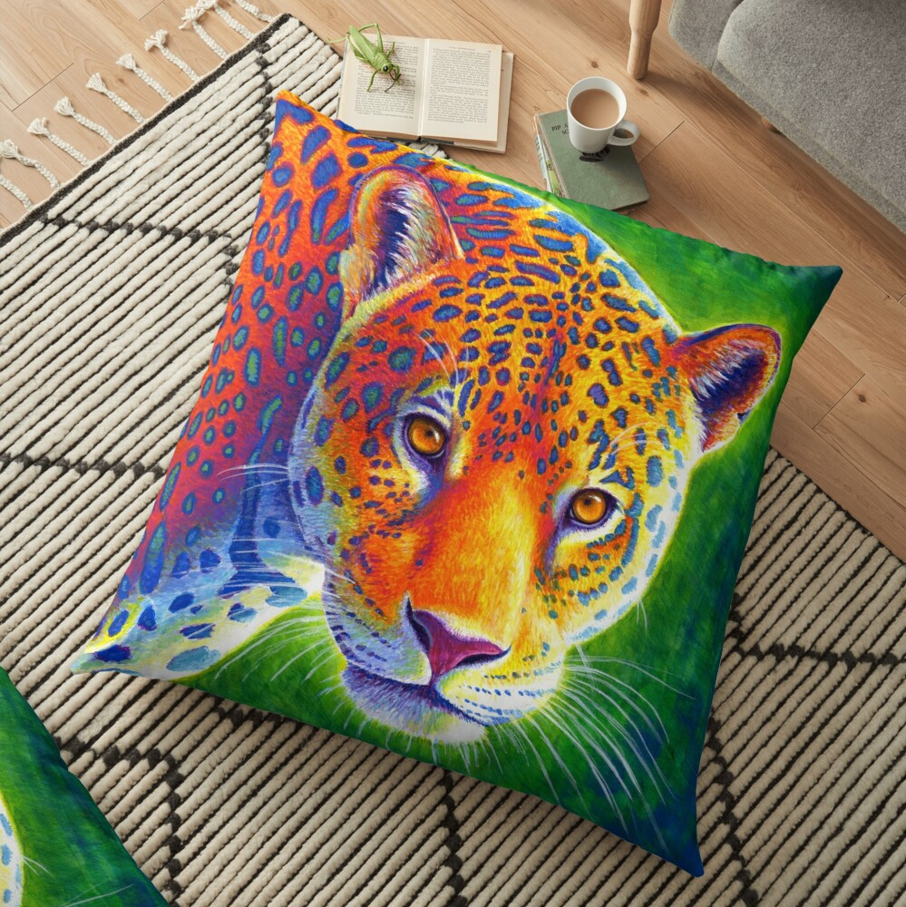 Light in the Rainforest - Colorful Jaguar Floor Pillow