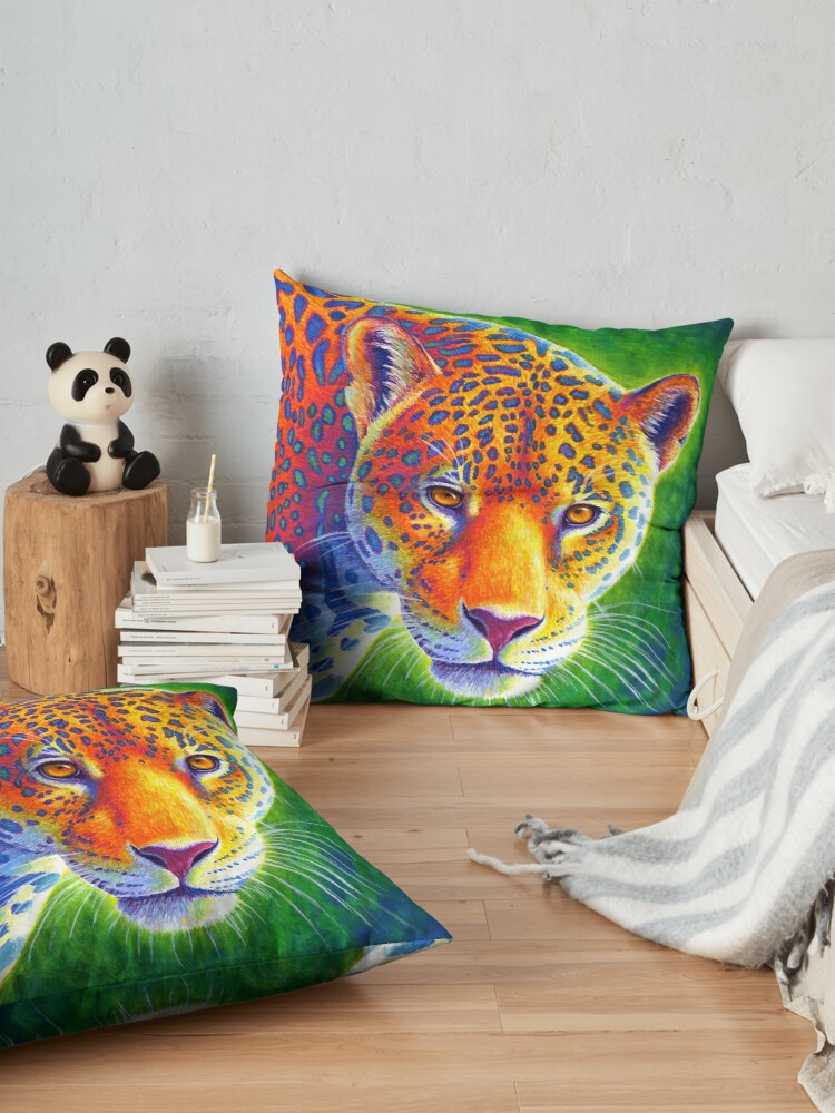 Alternate view of Light in the Rainforest - Colorful Jaguar Floor Pillow