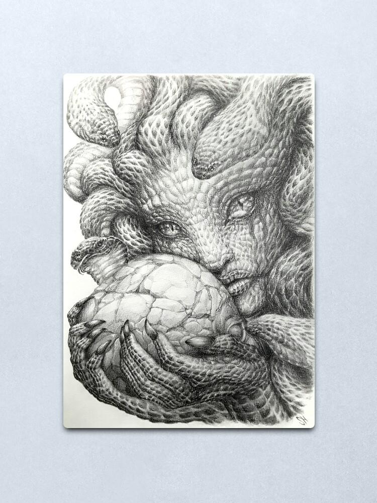 medusa crumbling skull graphite prisma pencil drawing metal print by tranquileyez redbubble