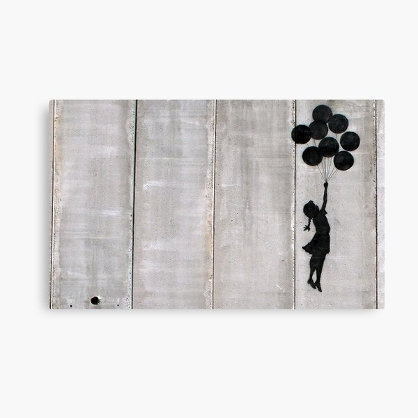 Banksy Girl With Balloons At Israeli-Palestine Wall, Palestinial Artwork, Prints, Posters, Bags, Men, Women, Kids Canvas Print