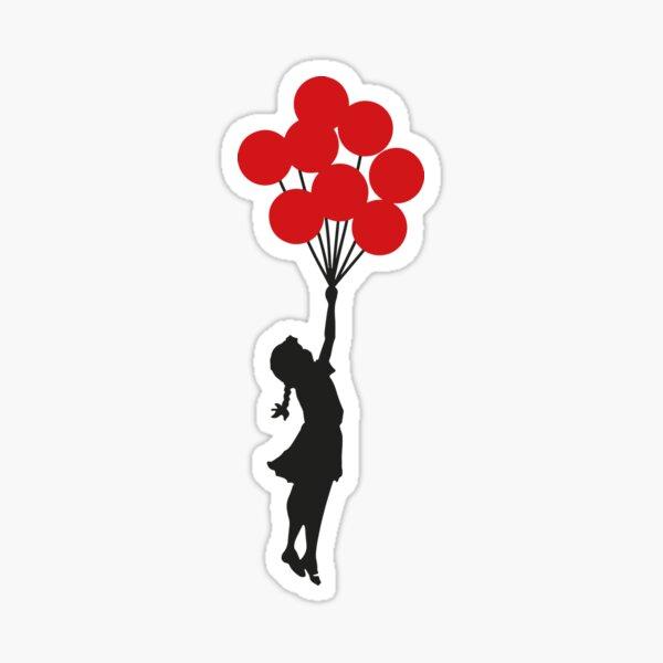 Banksy Girl With Red Balloons At Israeli-Palestine Wall, Palestinial Artwork, Prints, Posters, Bags, Men, Women, Kids Sticker
