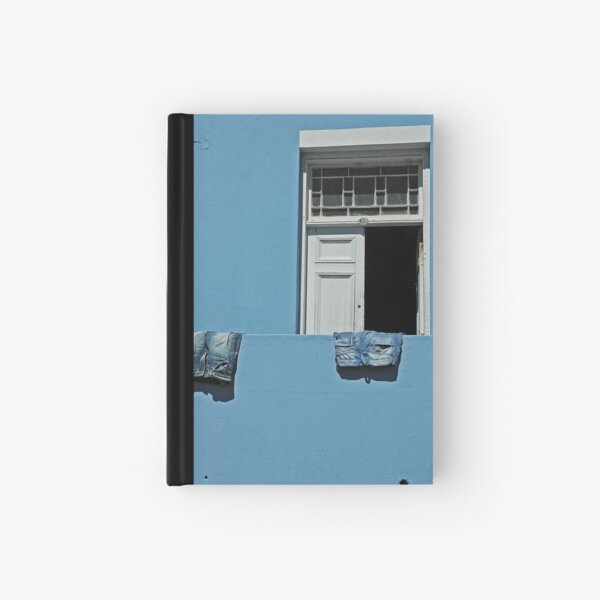 blue jeans on a blue wall Hardcover Journal