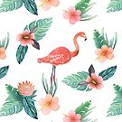 Coral Flamingo watercolor botanical by MagentaRose