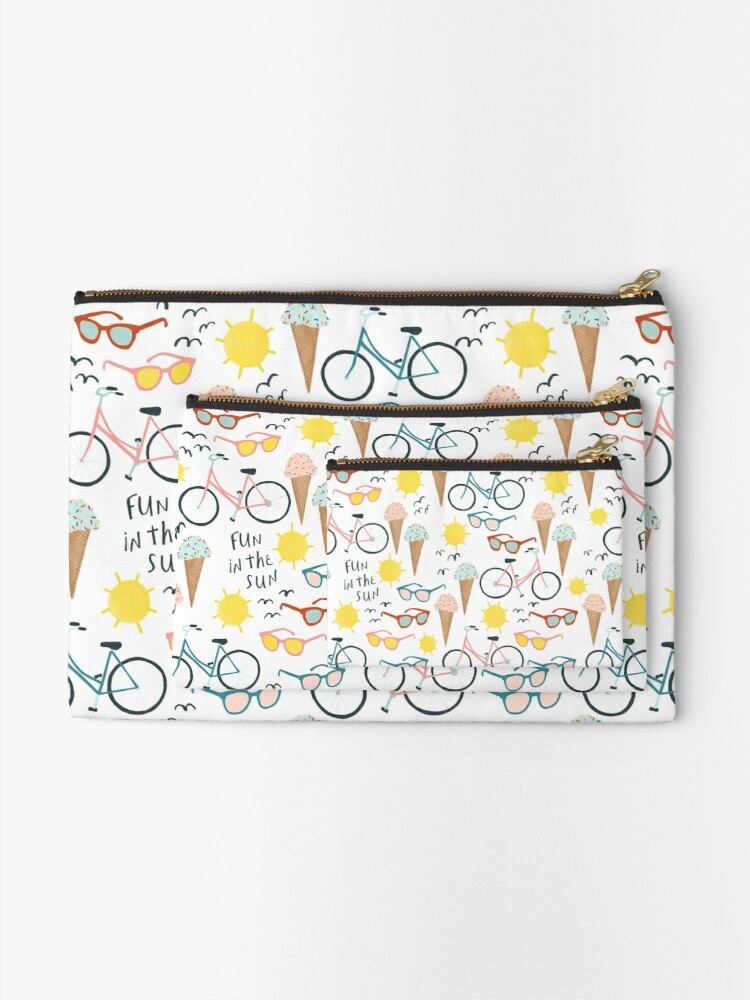 Alternate view of Fun in the sun summertime pastel pattern Zipper Pouch