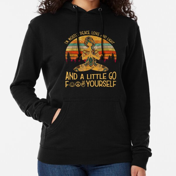 Yoga Tattoo Women - I'm Mostly Peace Love And Light Lightweight Hoodie
