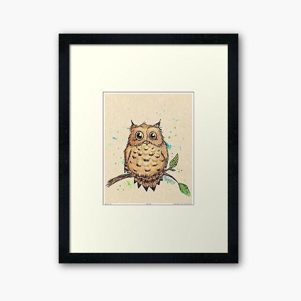 """""""Hoo, Me?"""" Baby Owl by Amber Marine, watercolor & ink, © 2019  Framed Art Print"""