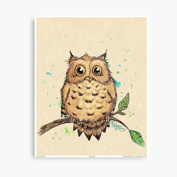"""Hoo, Me?"" Baby Owl by Amber Marine, watercolor & ink, © 2019  Canvas Print"