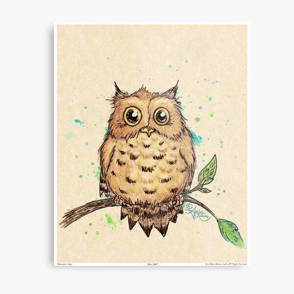 """""""Hoo, Me?"""" Baby Owl by Amber Marine, watercolor & ink, © 2019  Metal Print"""