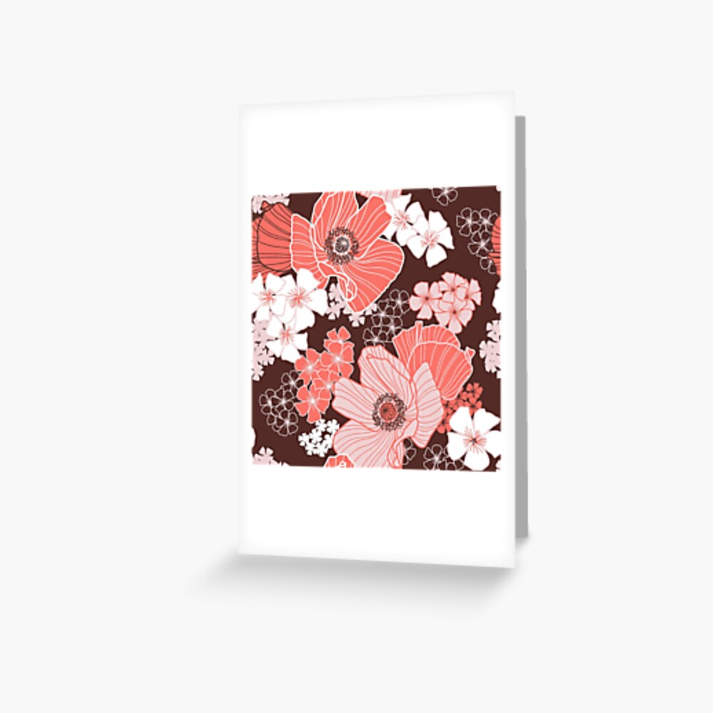 Coral Poppies Greeting Card