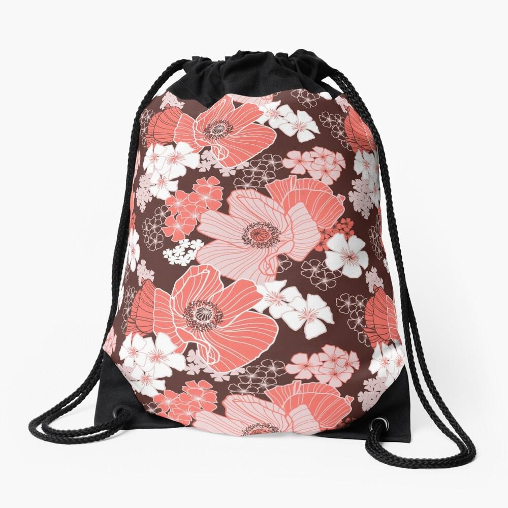 Coral Poppies Drawstring Bag