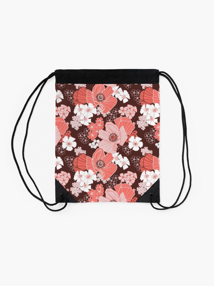Alternate view of Coral Poppies Drawstring Bag