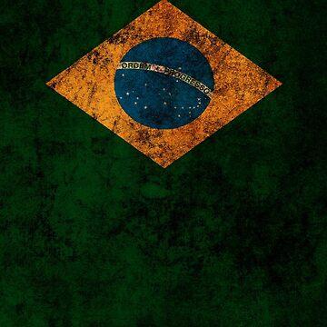 Brazilian Flag Old Weathered Distressed Worn Grunge Style by BennyBearProof