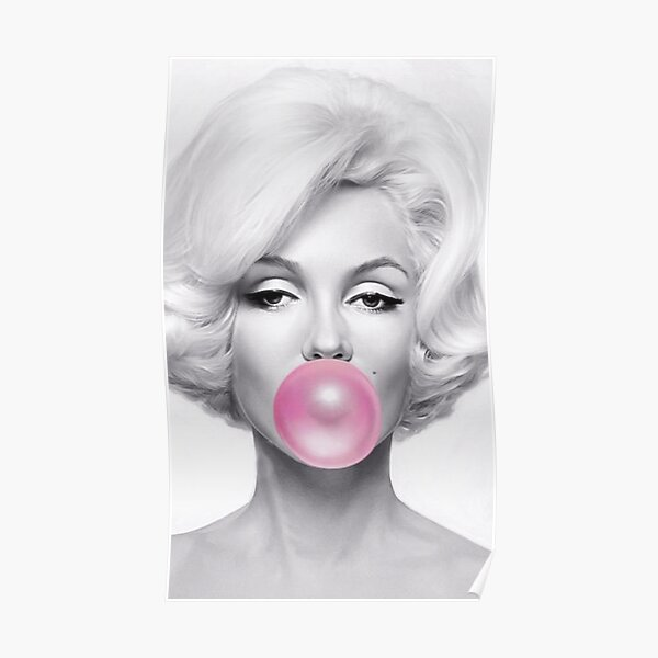 Black and White marilyn monroe Gum Poster