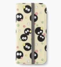 Ghibli Inspired Soot Sprites with Candy Pattern iPhone Wallet/Case/Skin