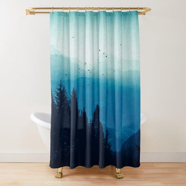 Blue Valmalenco - Italian Alpine Valley in Morning Mist Shower Curtain