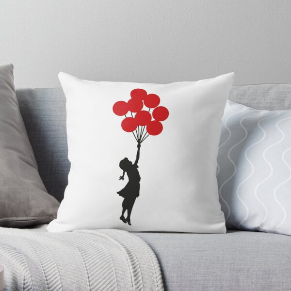 Banksy Girl with Red Balloons At Israel-Palestine Wall, Palestineial Artwork, Prints, Posters, Bags, Men, Women, Kids Coussin