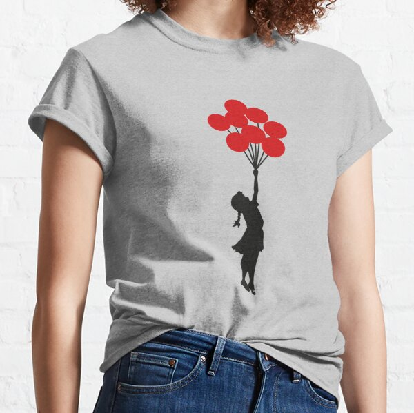 Banksy Girl With Red Balloons At Israeli-Palestine Wall, Palestinial Artwork, Prints, Posters, Bags, Men, Women, Kids Classic T-Shirt
