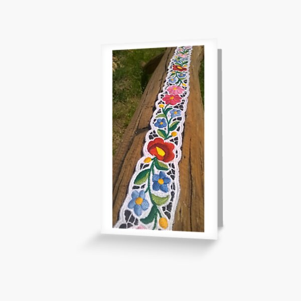 Hand Embroidered Hungarian Belt Greeting Card
