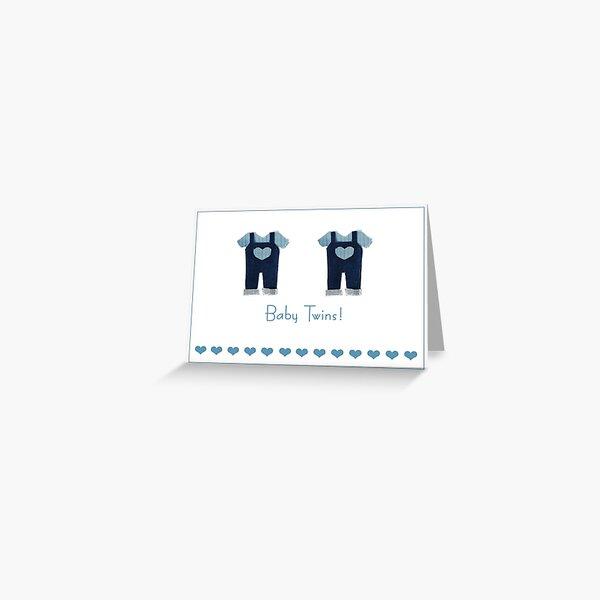 Baby boy twins card Greeting Card
