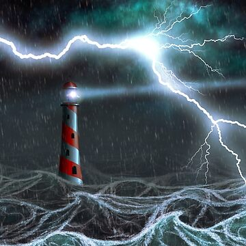 Lighthouse in the storm by AnnArtshock