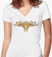Tribal Bull Women's Fitted V-Neck T-Shirt