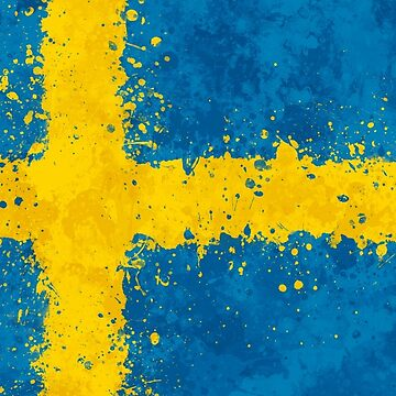 Sweden Flag Action Painting - Messy Grunge by GrizzlyGaz
