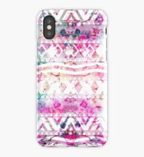Modern aztec pattern watercolor floral nebula iPhone Case