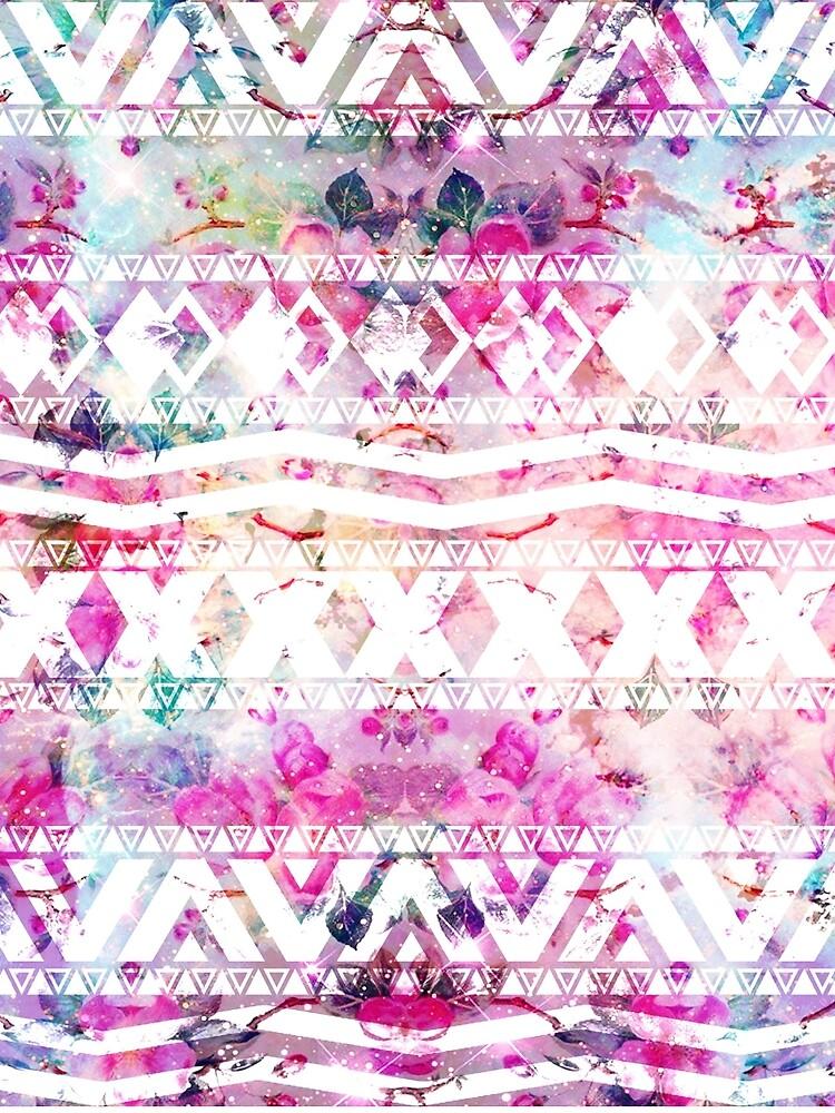 Blumennebelfleck des modernen aztekischen Musteraquarells von GirlyTrend