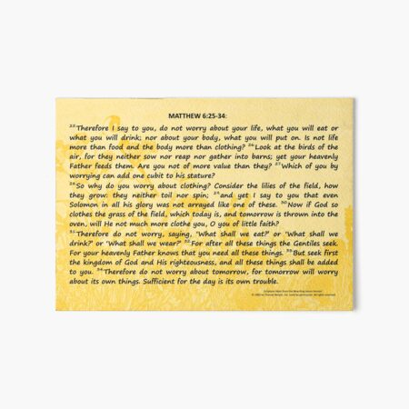 Bible Verses Card - Matthew 6:25-34 Art Board Print