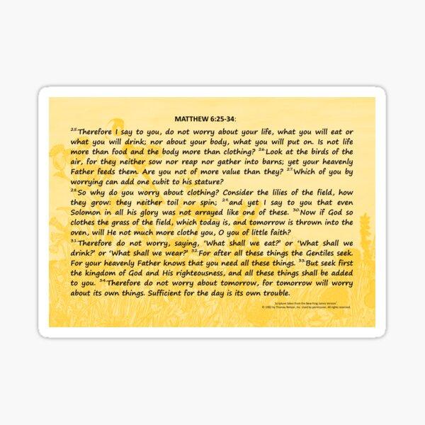 Bible Verses Card - Matthew 6:25-34 Sticker