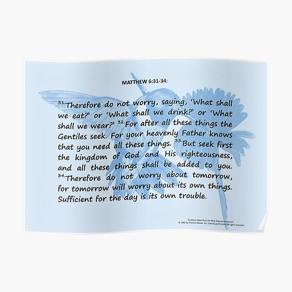 Bible Verses Card - Matthew 6:31-34 Poster