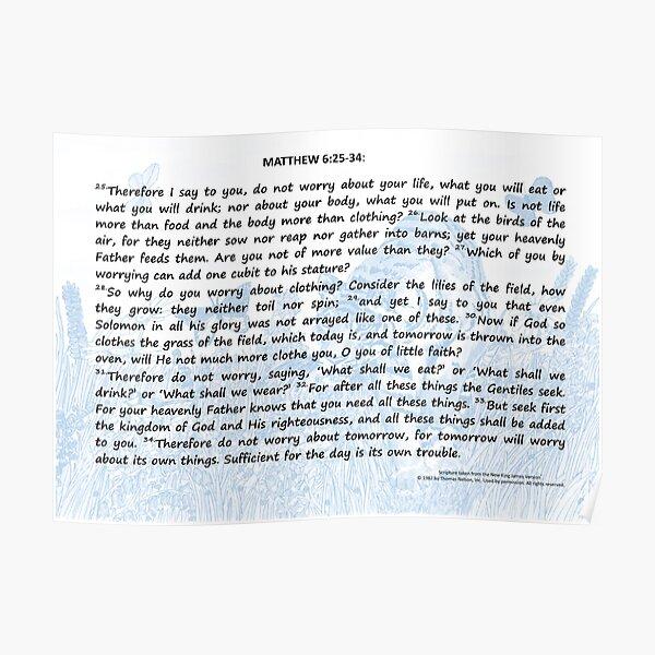 Bible Verses Card - Matthew 6:25-34 Poster