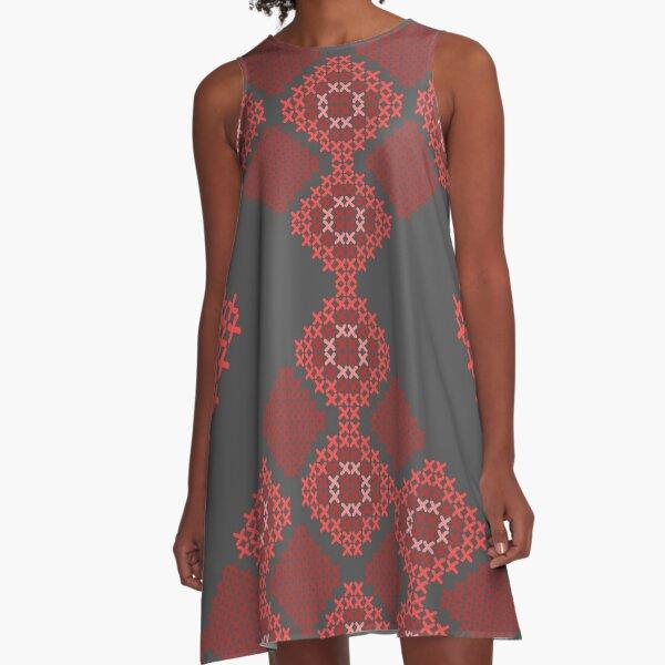 cross-stitch ornamental folk A-Line Dress