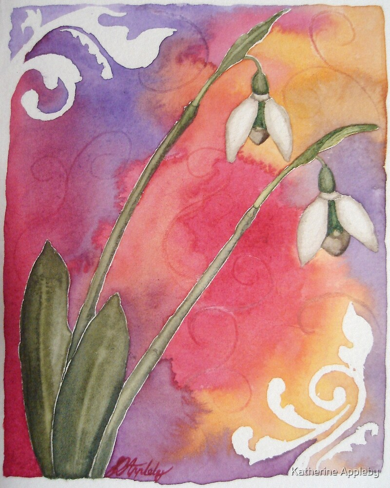 Snowdrops - Floral Sketch by Katherine Appleby