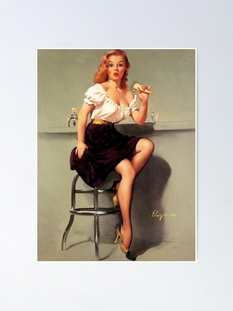 Pinup Girl Gil Elvgren-Riding High Canvas//Paper Print