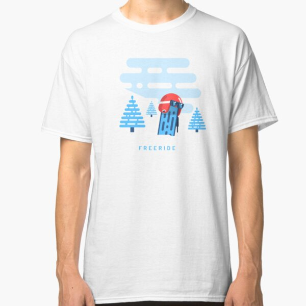 Racing helmet with ski goggles on snowboard sticking out of the snow Classic T-Shirt