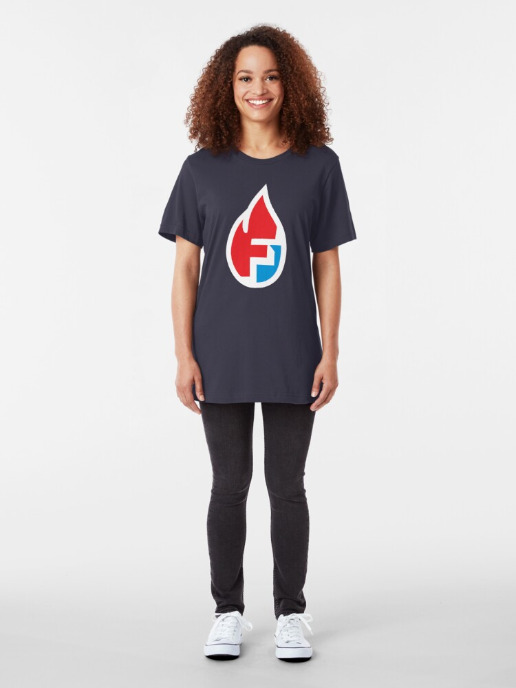 Alternate view of Fire Flame Superhero Letter F Slim Fit T-Shirt